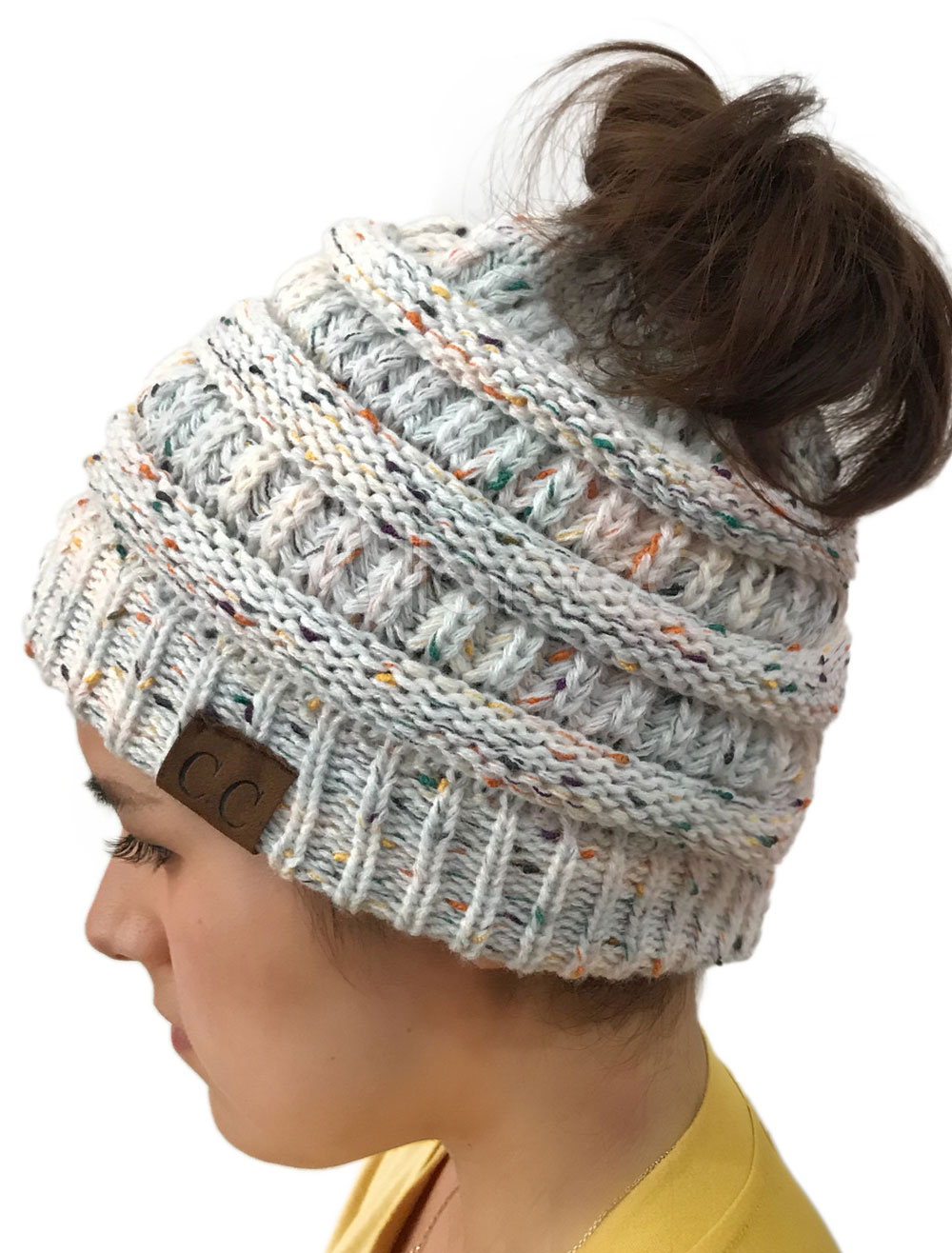 01e7830b258 Ponytail Beanie Hat Cable Knit High Bun Cap For Warm Winter With ...