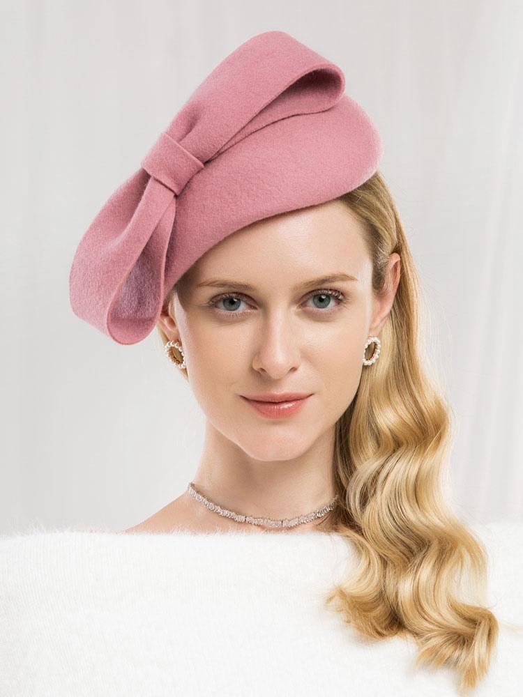 0c8d4d3001eff3 Retro Wool Hat Women Pink Felt Hat Bows Royal Vintage Headpieces-No.1 ...