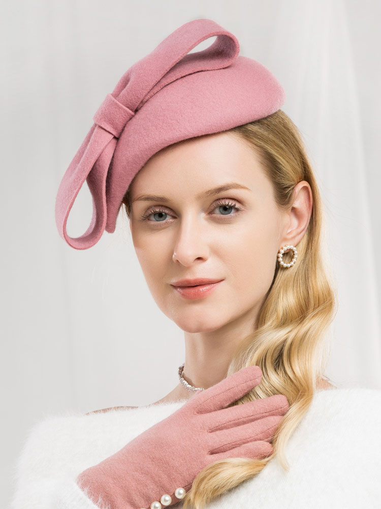 9f87f2a06fe0bd ... Retro Wool Hat Women Pink Felt Hat Bows Royal Vintage Headpieces-No.2  ...