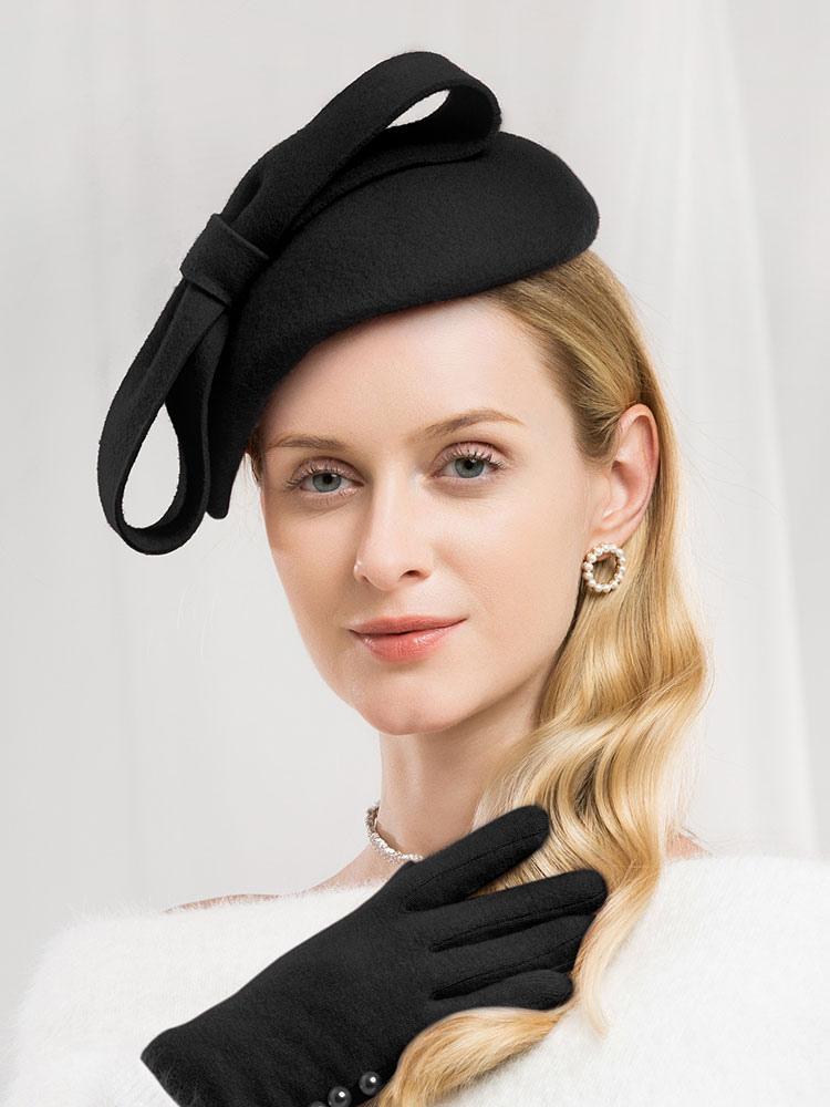 7315ef98e53c4c ... Retro Wool Hat Women Pink Felt Hat Bows Royal Vintage Headpieces-No.6  ...