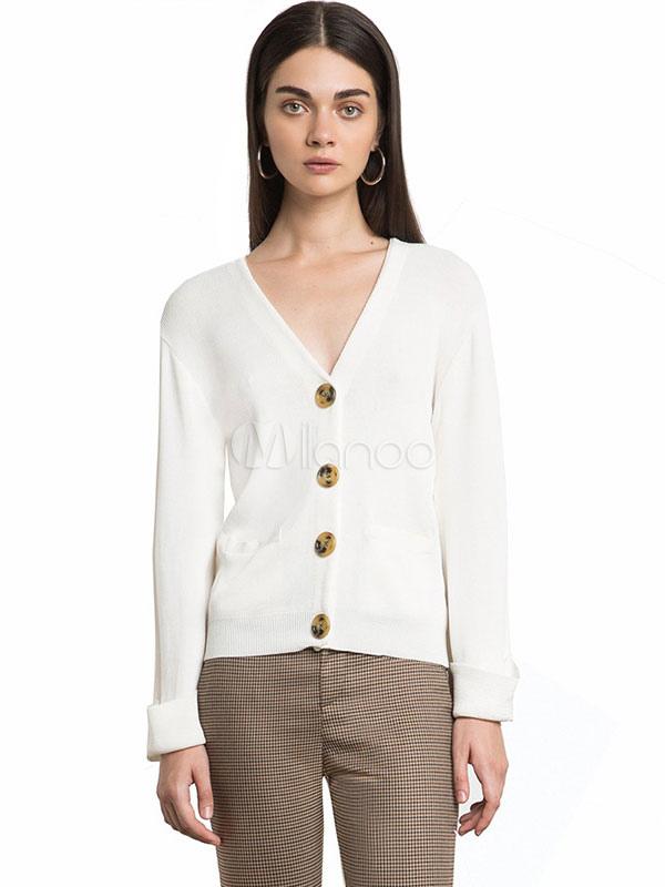 super popular aa651 fd081 Maglieria maniche lunghe frontali con bottoni bianchi a cardigan donna