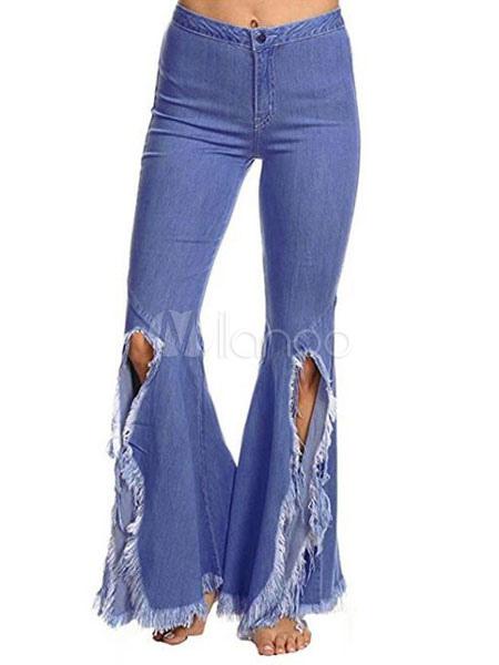 801a152ec1a Pantalones vaqueros de pierna acampanada Pantalones de mezclilla  desgastados de talle alto para mujeres divididas- ...