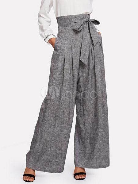 Pantalones De Pierna Ancha Pantalones De Cintura Alta Con Cintura Alta Para Mujeres Milanoo Com