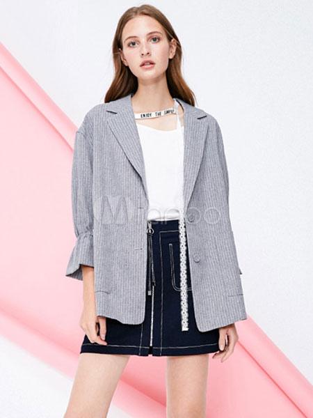 gran surtido venta oficial calidad de marca Blazer de gran tamaño Chaqueta con botón a rayas Camisa con cuello  abotonado Blazer casual para mujer
