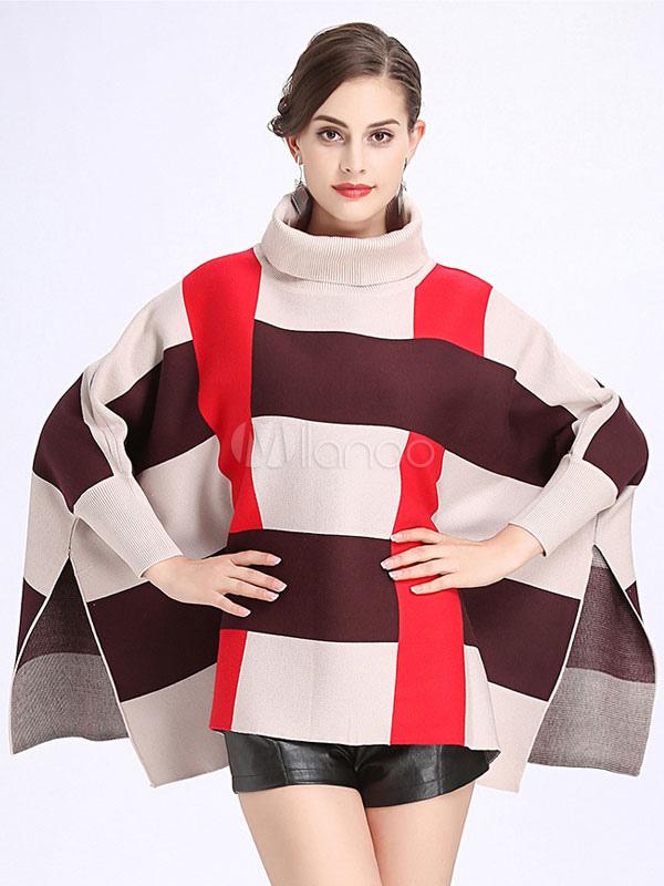 336788a67cf5 Cuello alto Poncho Suéter Estampado extragrande A cuadros Batwing manga  Cabo prendas de vestir exteriores para mujeres