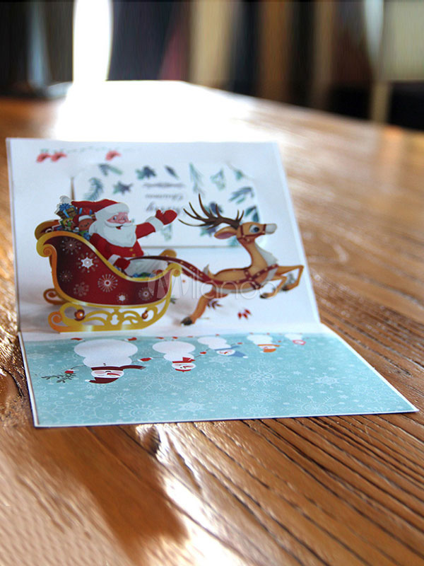 3d Pop Up Holiday Greeting Cards Santas Sleigh Deer Christmas Gift Jewelry & Watches Bands Without Stones