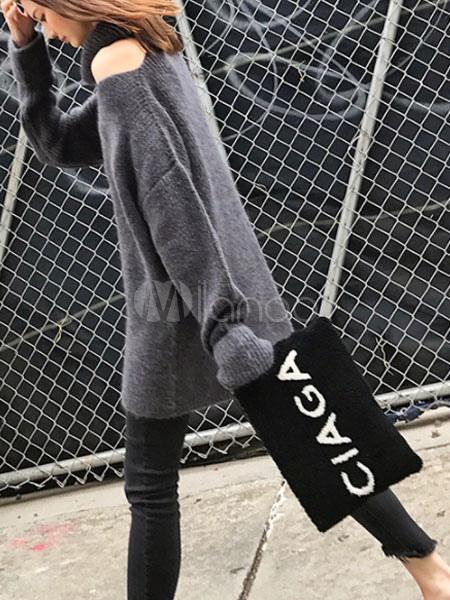 60661519a37 ... Black Sweater Dress Long Sleeve Asymmetrical Collar Knit Mini Dress-No.4  ...