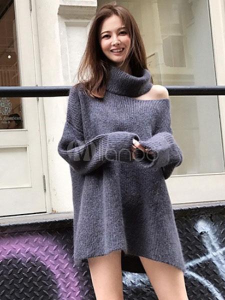 f1867356a65 ... Black Sweater Dress Long Sleeve Asymmetrical Collar Knit Mini Dress-No.3  ...
