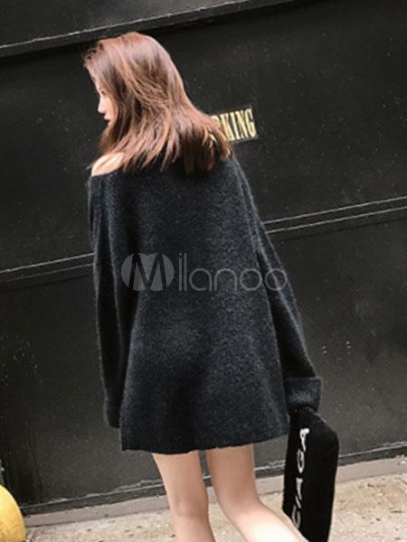 3ea64e5aab9 ... Black Sweater Dress Long Sleeve Asymmetrical Collar Knit Mini Dress-No.5