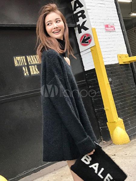 d95500c7d06 ... Black Sweater Dress Long Sleeve Asymmetrical Collar Knit Mini Dress-No.2  ...