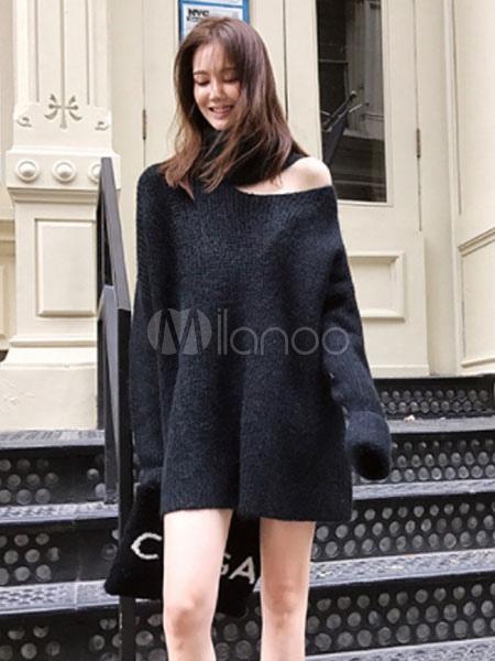 926cf3ca6b9 Black Sweater Dress Long Sleeve Asymmetrical Collar Knit Mini Dress-No.1 ...