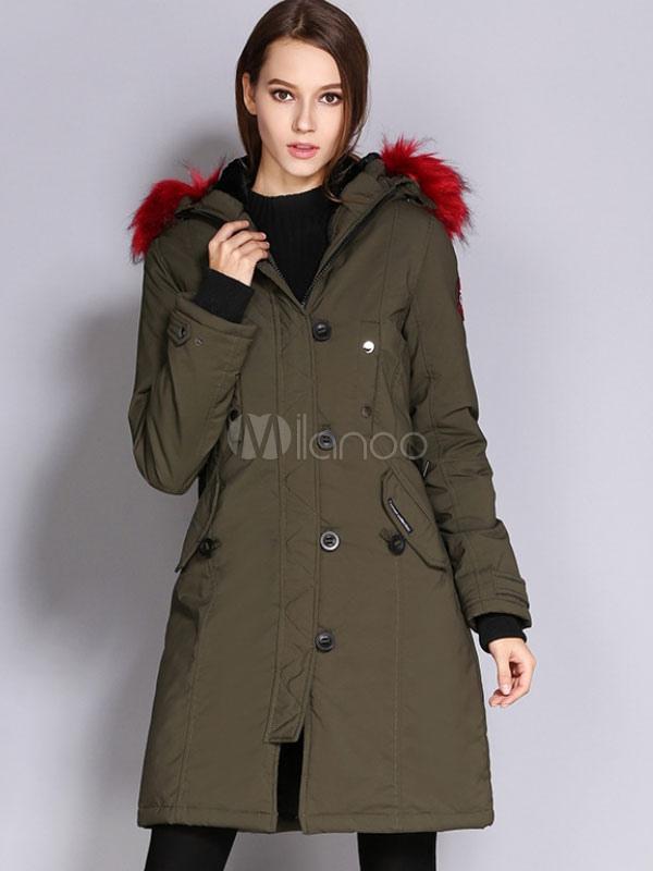 purchase cheap 99786 4aaa8 Cappotto Parka donna Cappotto imbottito con cappuccio in pelliccia  sintetica Cappotto invernale imbottito in cotone