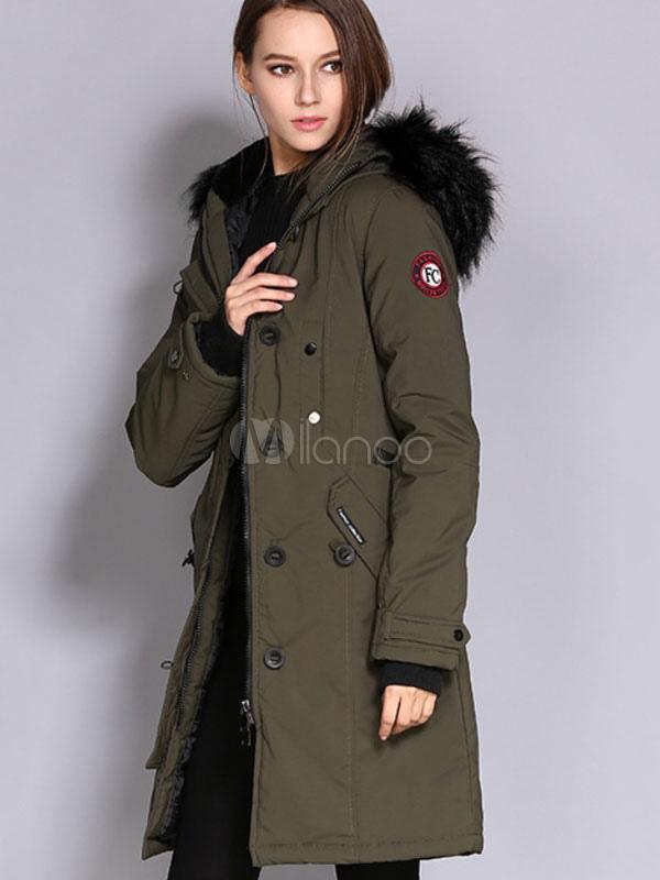 Cappotto Parka donna Cappotto imbottito con cappuccio in
