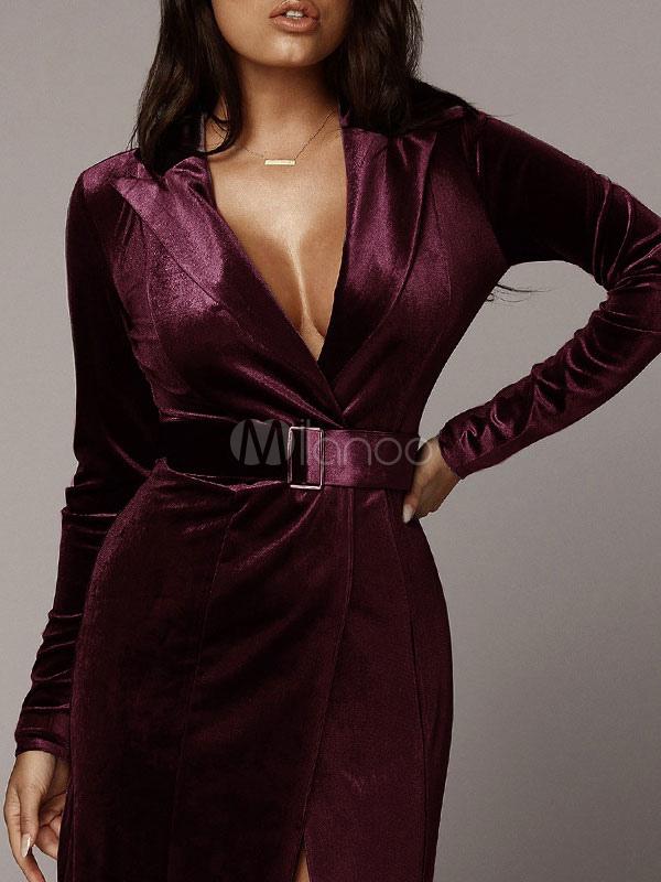 d0a7614a300349 Velour Maxi Dress Long Sleeve Party Dress Plunging Wrap Dress-No.1 ...