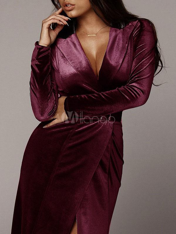 Velour Maxi Dress Robe de soirée à manches longues Robe portefeuille plongeante