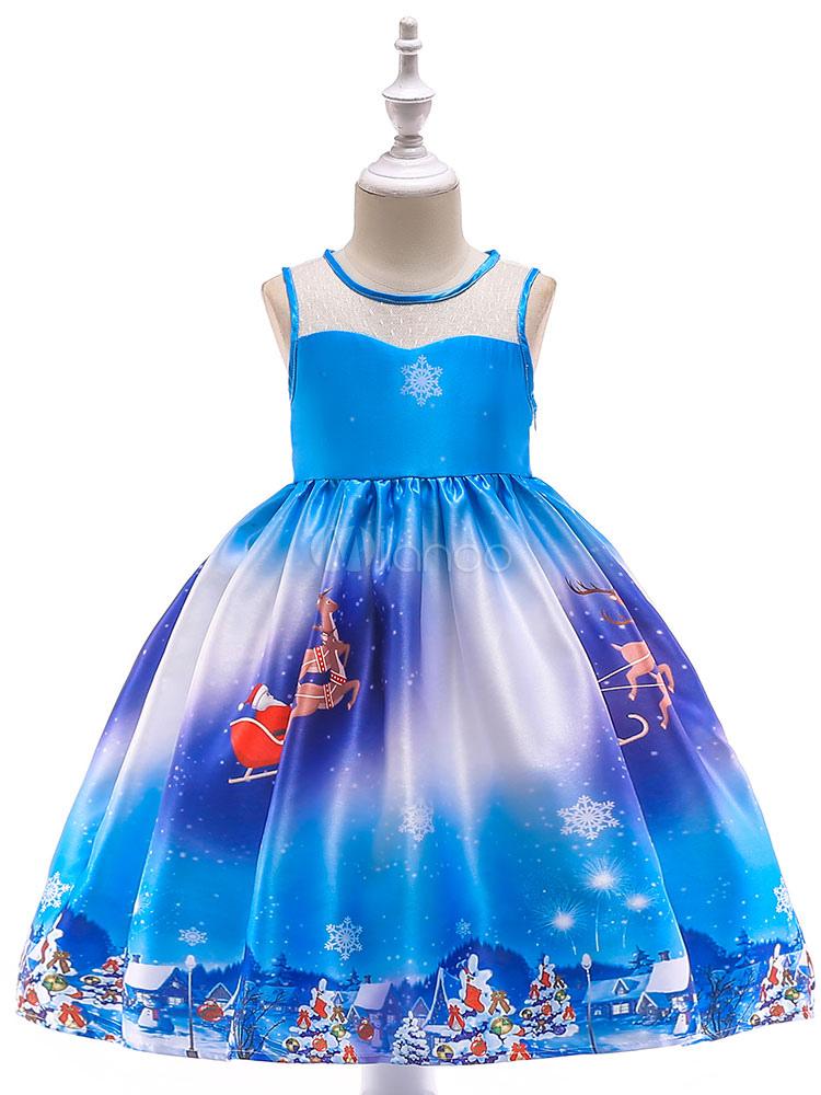 506948c99 Christmas Dresses Little Girls Blue Printed Bows Short Party Dress-No.1 ...