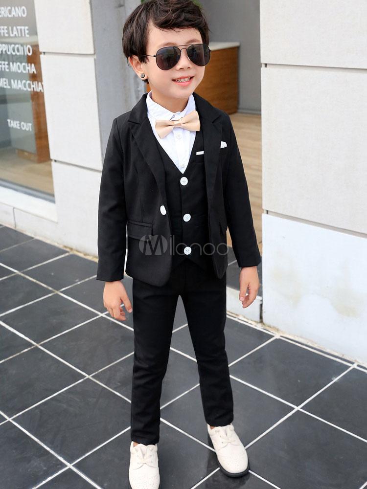 e7525a39ca350 Traje al portador Trajes Traje de boda para niños Esmoquin Negro para niños  Ropa formal Conjunto de 4 piezas