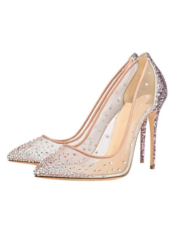 dd818151b55 Zapatos de fiesta rosa para mujer Punta estrecha Rhinestones Tacones altos  Zapatos de noche con purpurina ...
