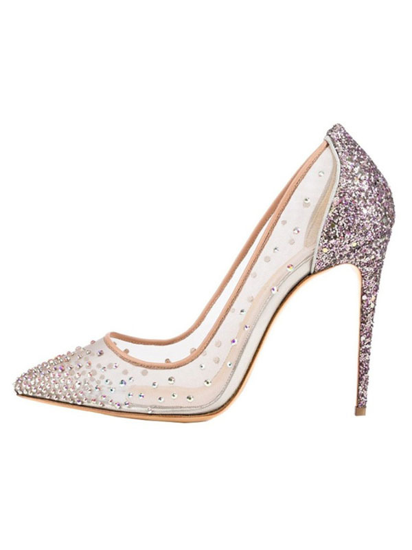 604368054c9 ... Zapatos de fiesta rosa para mujer Punta estrecha Rhinestones Tacones  altos Zapatos de noche con purpurina ...