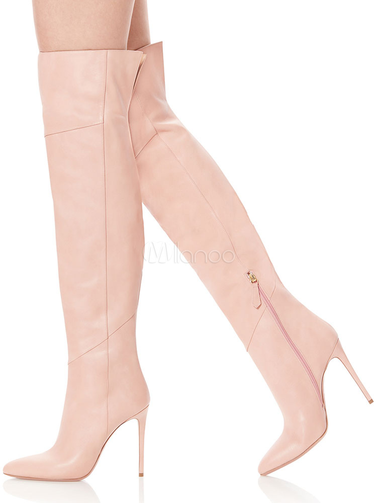aec53f5d251 High Heel Thigh High Boots Women Pointed Toe Wide Calf Over The Knee Boots- No ...