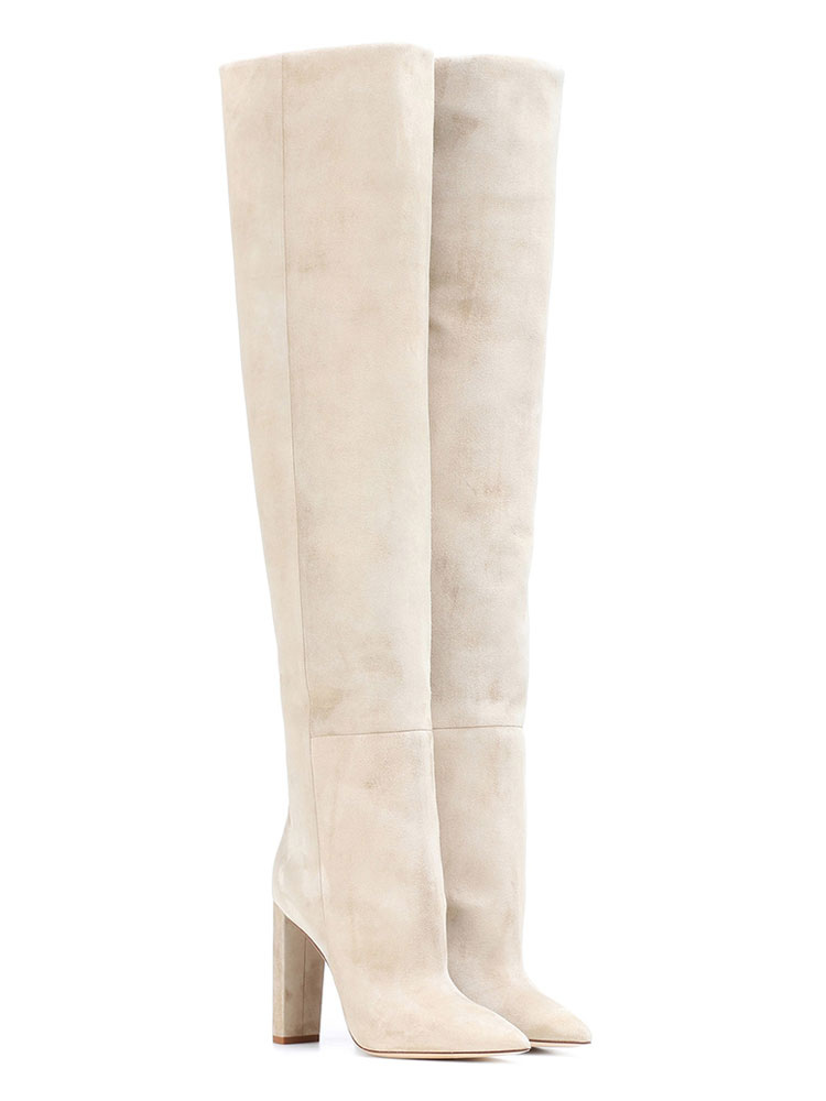 sports shoes 86917 85e5a Women Slouch Boots Suede Nap Pointed Toe High Heel Over The Knee Boots  Beige Wide Calf Thigh High Boots