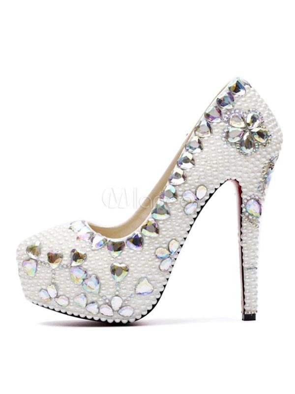 92b39755b Sapatos de Casamento Branco Mulheres Plataforma Pérolas Strass Sapatos de  Festa de Salto Alto Mulheres Sapatos ...