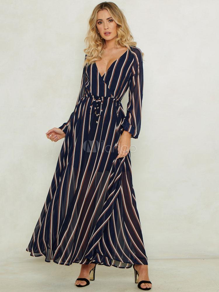 940700849 Vestido largo a rayas Vestido de manga larga con cuello en V Cintura oscura  azul marino ...