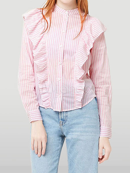 4ca0702a0cd134 Pink Striped Blouses Cascading Ruffles Cotton Casual Top For Women-No.1 ...