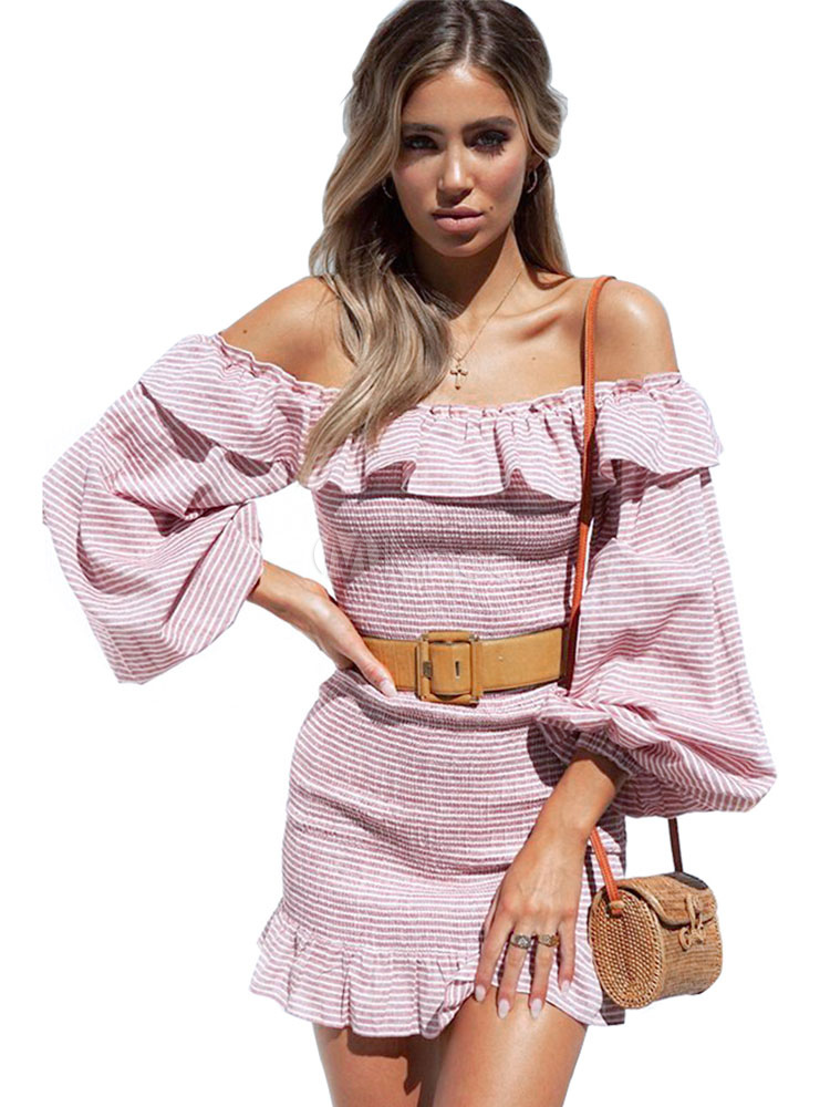 84a4294002dd Pink Bodycon Dress Long Sleeve Ruffles Striped Off The Shoulder Mini Dress-No.1  ...