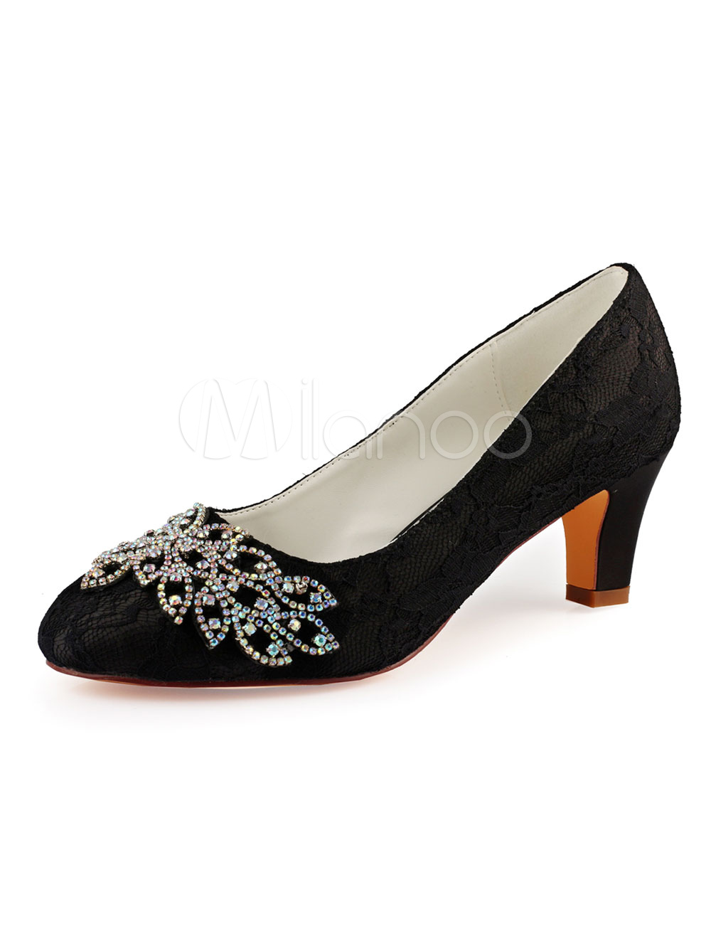 05aaa66654ae3 ... Lace Mother Of Bride Shoes Black Round Toe Rhinestones Chunky Heel  Wedding Guest Shoes-No. 1. 40%OFF. Color:Black