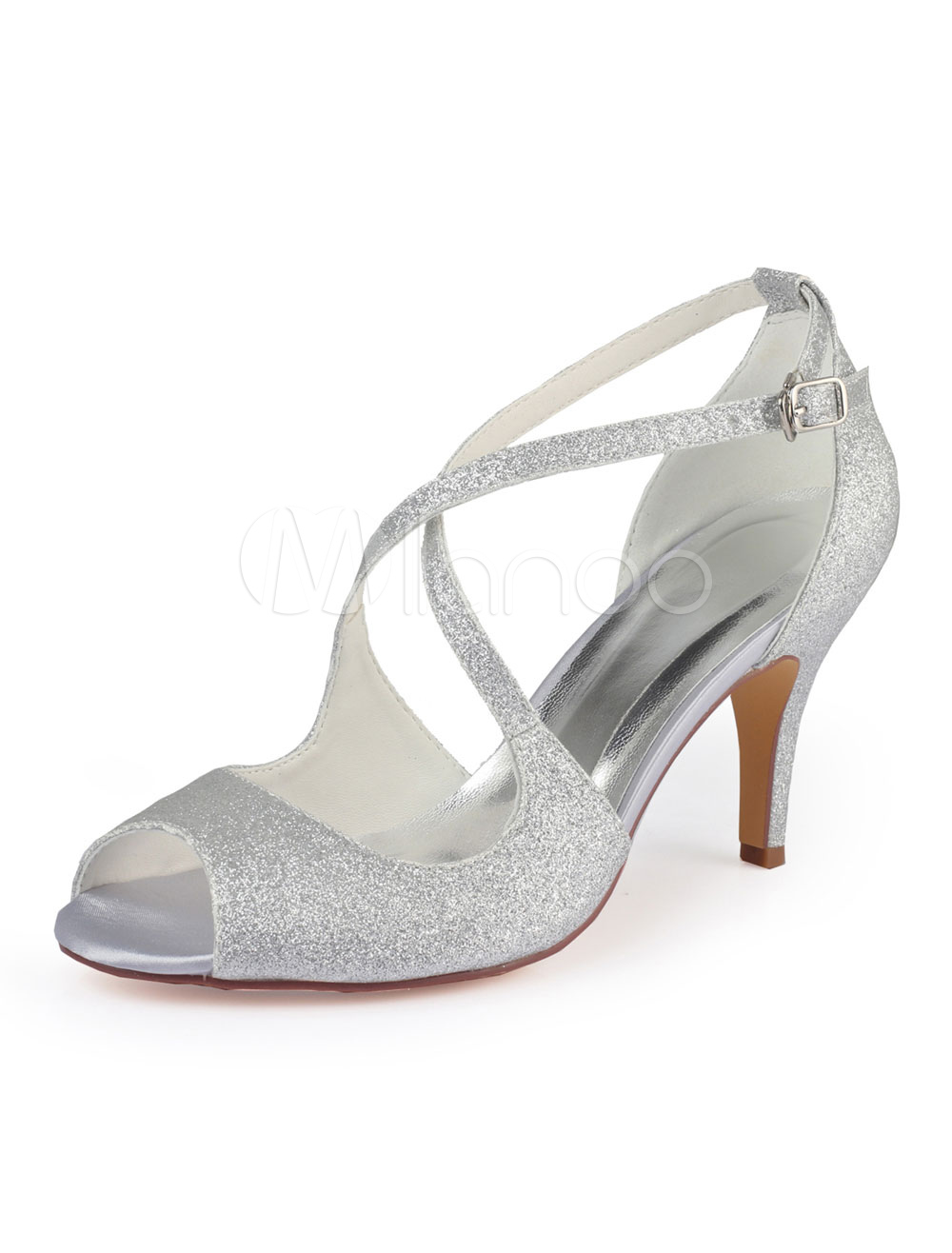 Silver Wedding Shoes.Silver Wedding Shoes Glitter Open Toe Criss Cross Prom Shoes High Heel Party Shoes