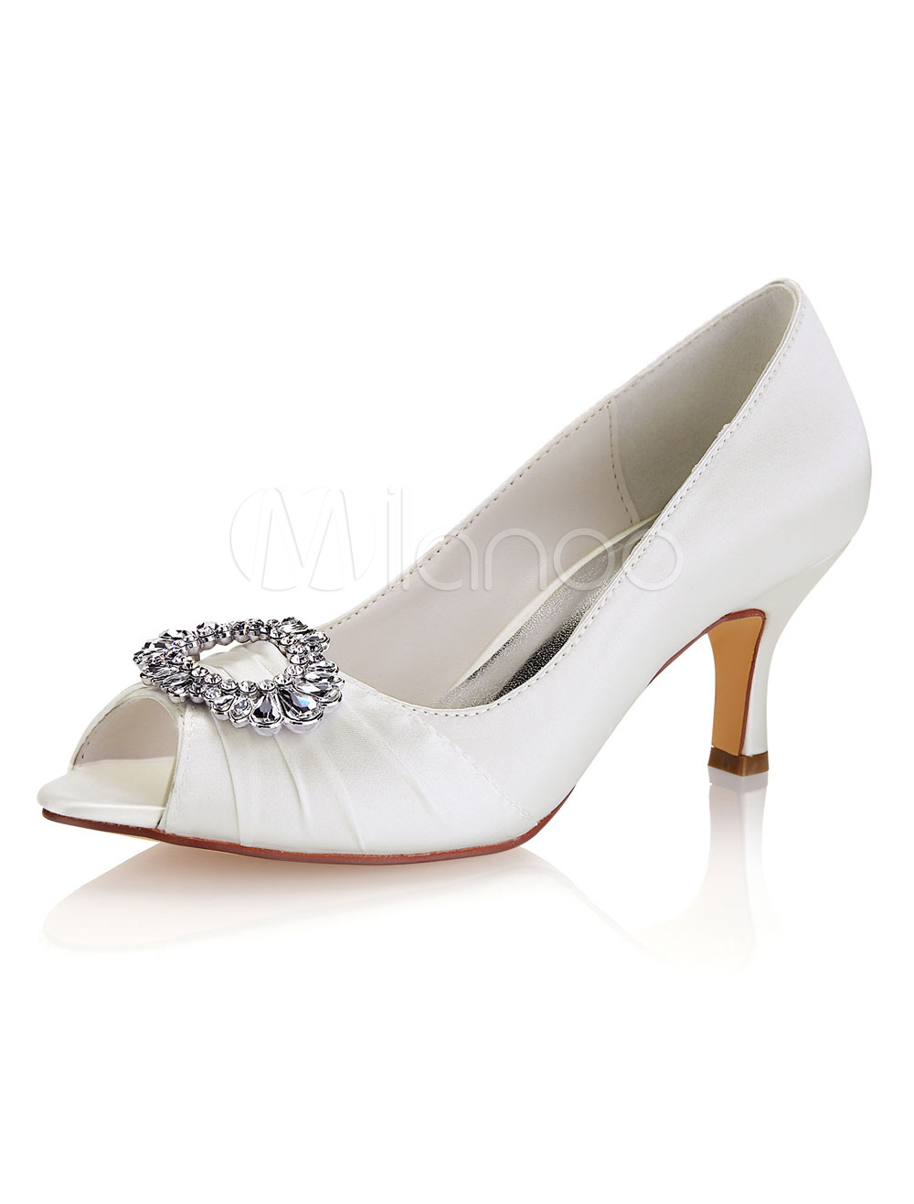 3ae28e9a572 Ivory Wedding Shoes Satin Peep Toe Rhinestones Mother Of The Bride Shoes