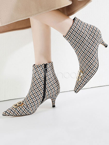 628a964b1d54 Grey Ankle Boots Women Pointed Toe Plaid Metal Detail Kitten Heel Booties-No.1  ...