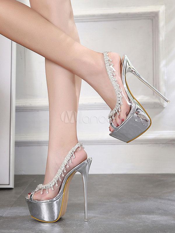 ... 3daed 568ef Silver Sexy Shoes Peep Toe Rhinestones Stiletto Heel  Slingbacks Stiletto Heel Pumps Women High ... 6fba4a24a