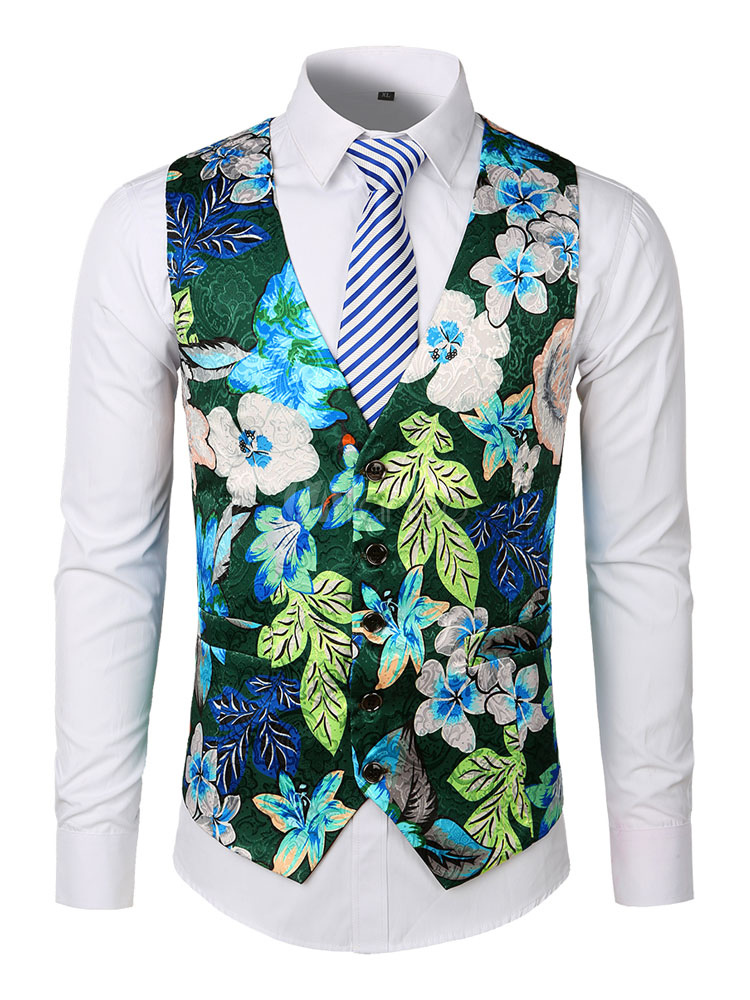 2682c1c133fe ... Men Suit Vest Floral Print Tuxedo V Nekc Pocket Jacquard Waistcoat-No.3  ...
