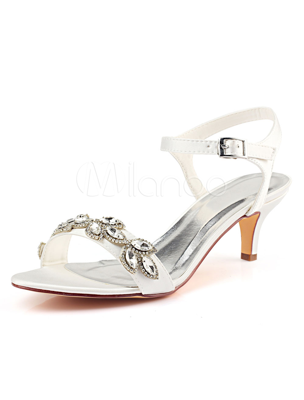 b012e8edf71 Satin Wedding Shoes Ivory Open Toe Rhinestones Kitten Heel Bridal Shoes  Mother Shoes