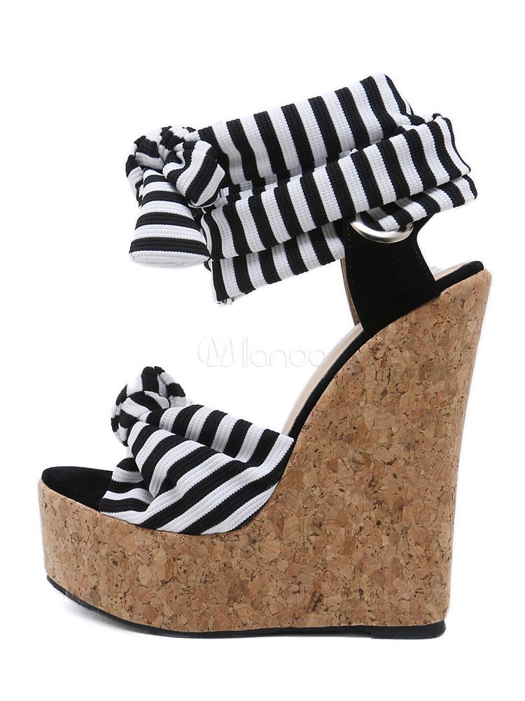 c5cf622002da ... Femmes Sandales Compensées Plateforme Blanche Bout Ouvert Noué À Lacets  Sandale Chaussures Vintage Sandales-No ...