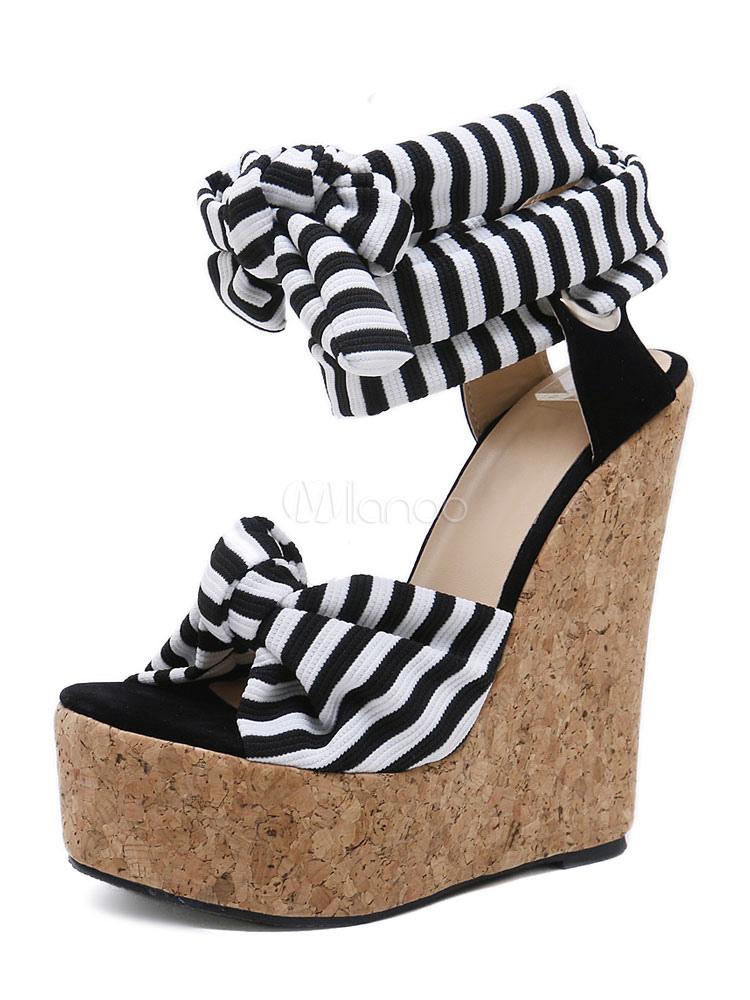 9d8d91d16f96 Femmes Sandales Compensées Plateforme Blanche Bout Ouvert Noué À Lacets  Sandale Chaussures Vintage Sandales-No ...