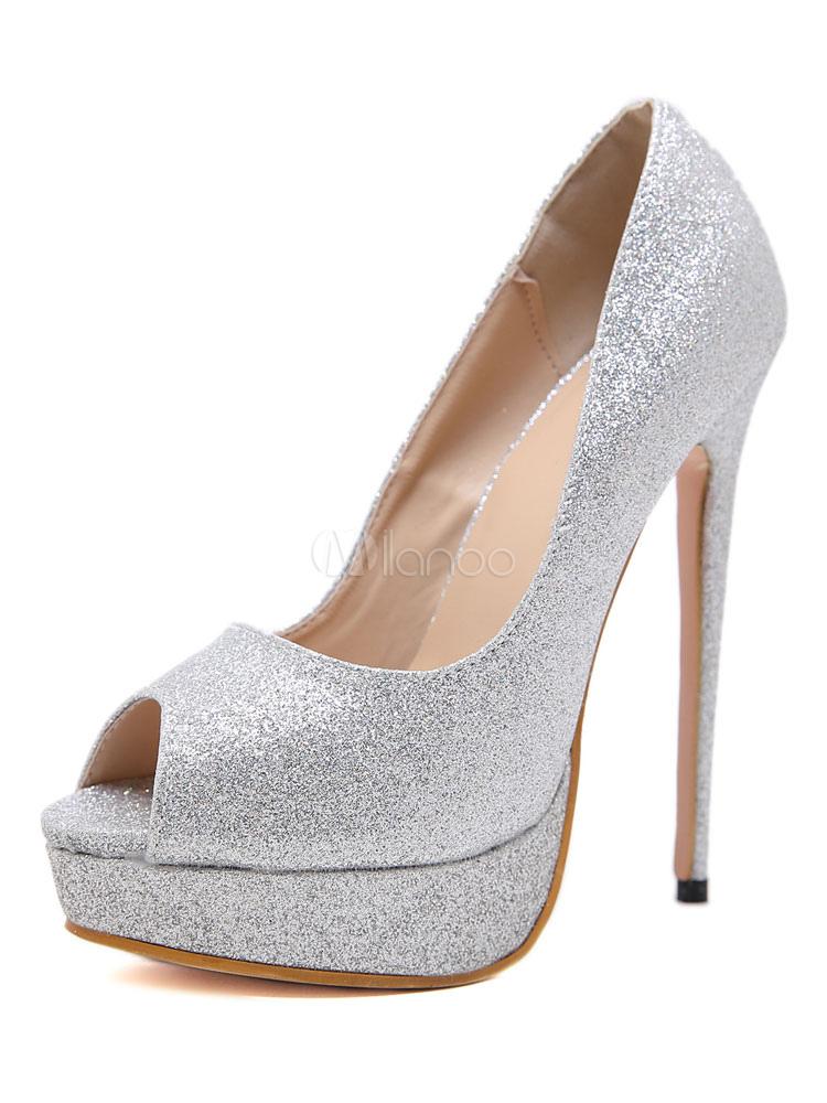 9485f803 Zapatos de fiesta plateados con brillo, plataforma de peep toe, zapatos de  noche de ...