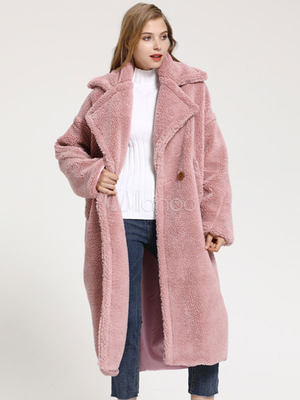 5546dcbdf4d Faux Fur Coat Women Teddy Bear Coat Turndown Collar Winter Coat-No.1 ...