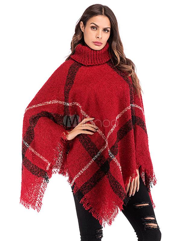 f22ca73a5 Women Sweater Poncho Turtleneck Fringe Color Block Knitwear-No.1 ...