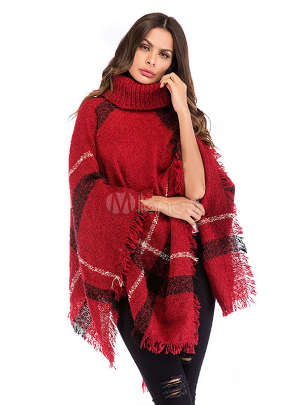 f7d81ff86 ... Women Sweater Poncho Turtleneck Fringe Color Block Knitwear-No.2 ...