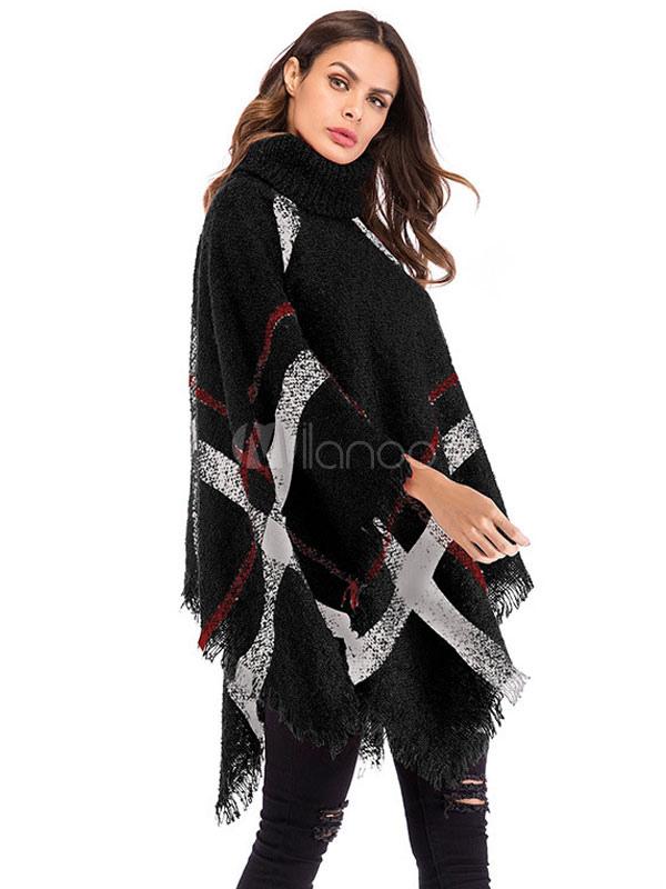 9b41cc0f1 ... Women Sweater Poncho Turtleneck Fringe Color Block Knitwear-No.4