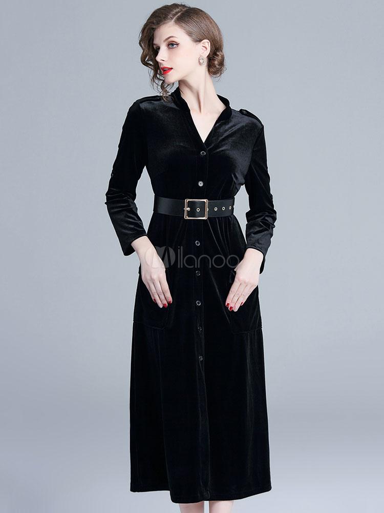 ca35a6b29519 Black Velour Dress Long Sleeve V Neck Pockets Belt Maxi Dress-No.1 ...