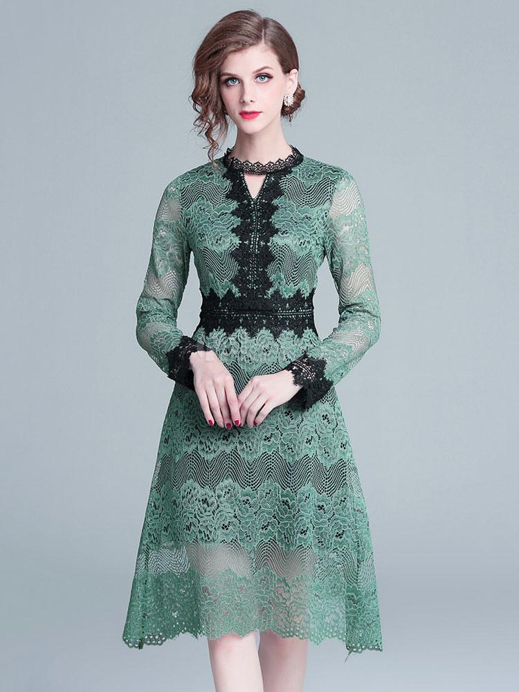 dcddb40b7a Long Sleeve Lace Dress Crewneck Two Tone Midi Dress - Milanoo.com