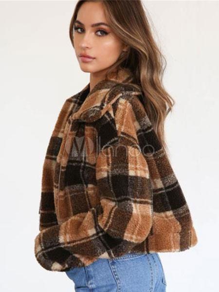Teddy Bear Coat Damen Karierte Lammwolle Jacke Turndown Kragen
