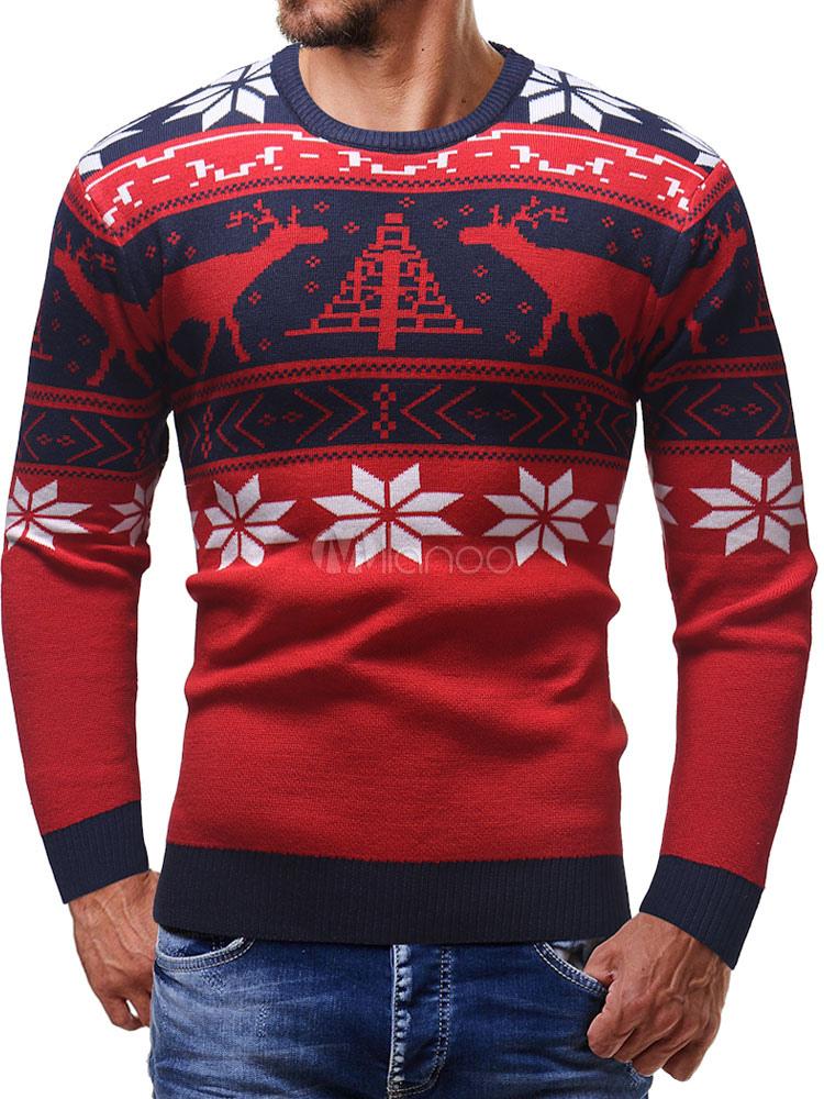 new arrival afe42 8dce6 Maglione pullover rosso maglione da uomo in cotone manica lunga girocollo  con motivo natalizio
