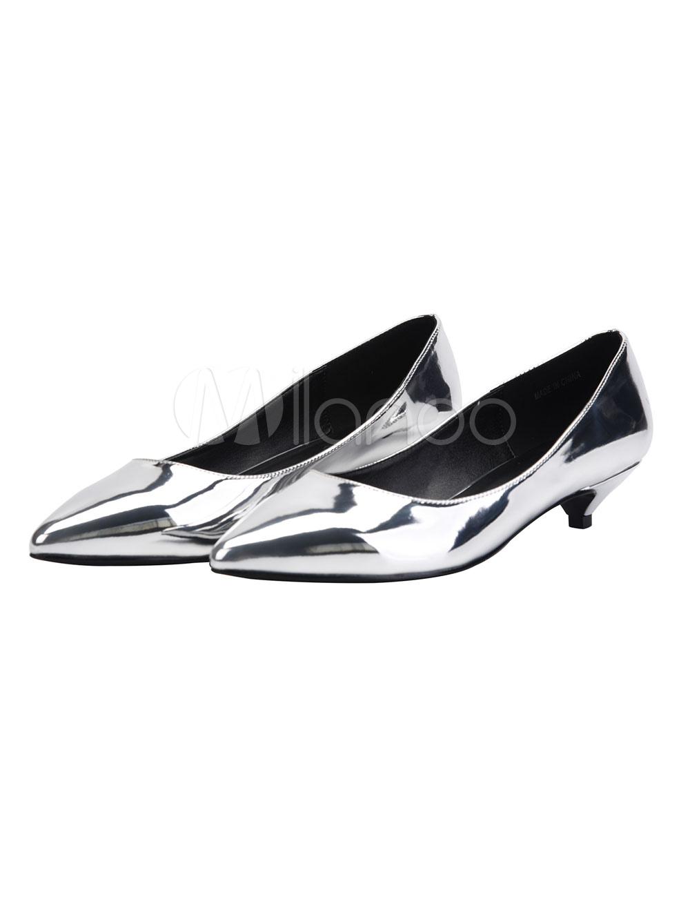 Silver Dress Shoes Kitten Heel Pumps Plus Size Pointed Toe Slip On Shoes