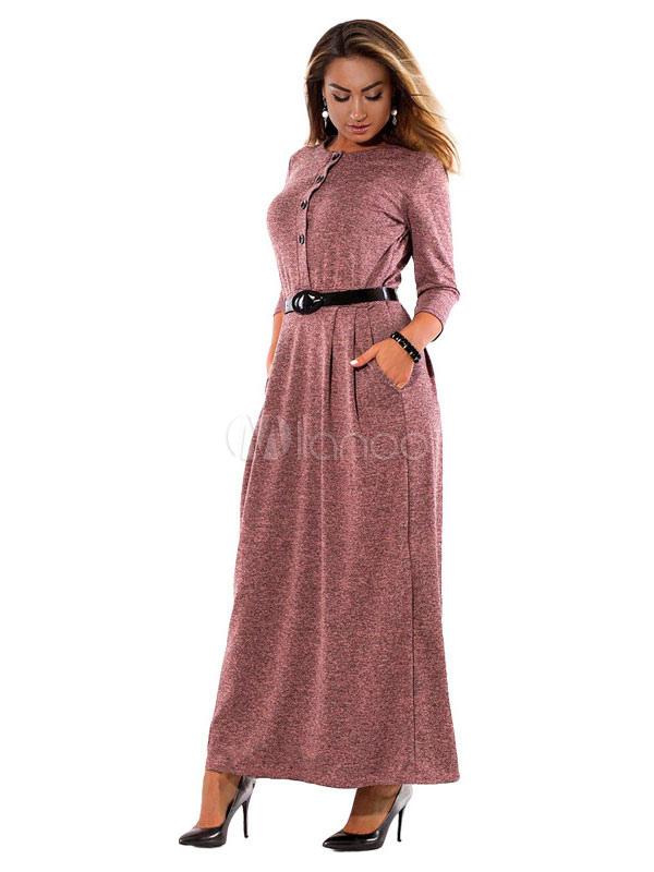 superior quality 4e6a9 2247b Vestito lungo da donna con bottoni lunghi con bottoni e tasche