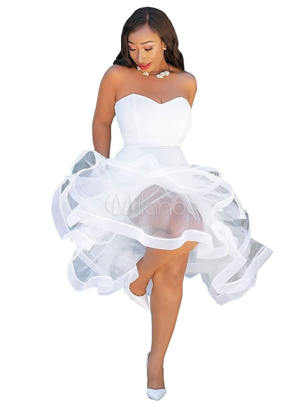 35485bbdf7622 White Bodycon Dress Strapless Ruffles Shaping Sexy Party Dress-No.1 ...